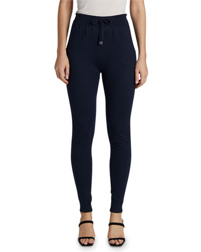 Cashmere-Silk Track Pants with Drawstring-Waist