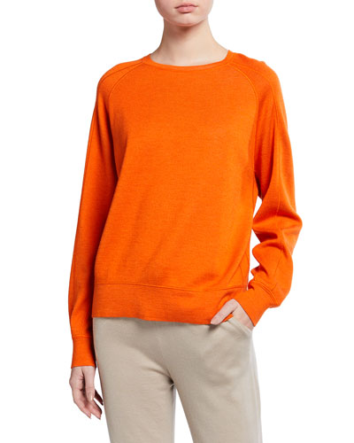 Cashmere-Silk Sweatshirt-Style Sweater