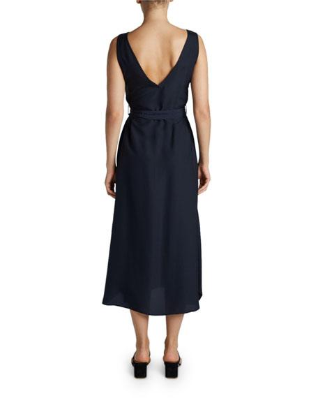 Maison Ullens V-Neck Tie-Waist Midi Dress