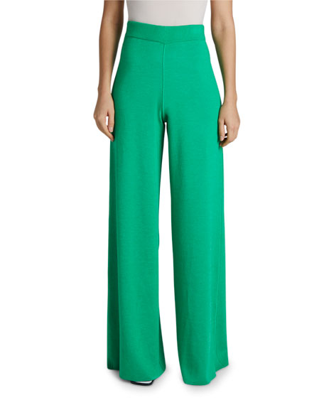 Maison Ullens Cashmere-Silk Reversible Two-Tone Wide Leg Pants