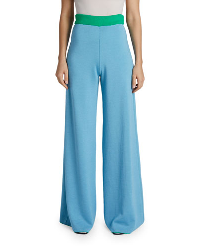 Cashmere-Silk Reversible Two-Tone Wide Leg Pants
