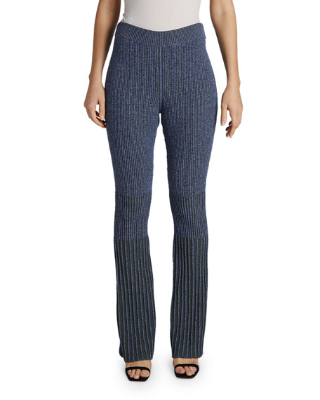 Maison Ullens Flare-Leg Ribbed-Knit Pants
