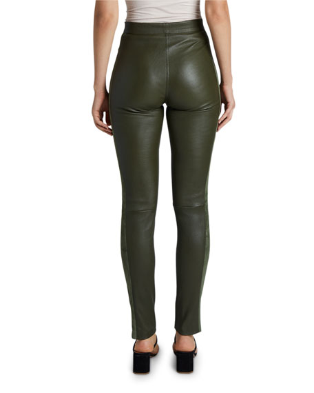 Maison Ullens Suede-Striped Leather Leggings