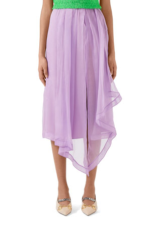 Gucci Silk Light Organza Skirt With Front Slit