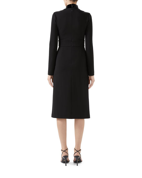 Image 2 of 2: Gucci Compact Jersey Deep-V Dress with Detachable Collar