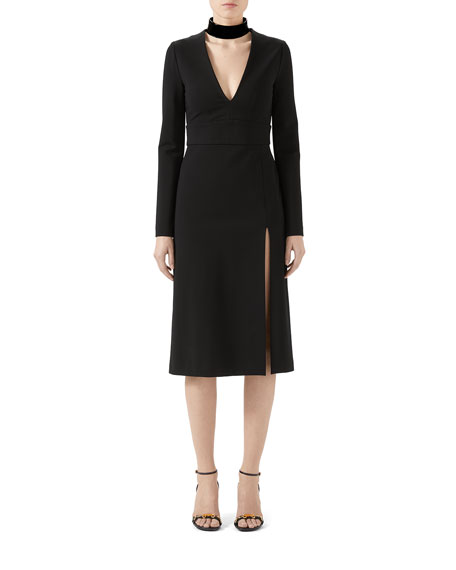 Image 1 of 2: Gucci Compact Jersey Deep-V Dress with Detachable Collar