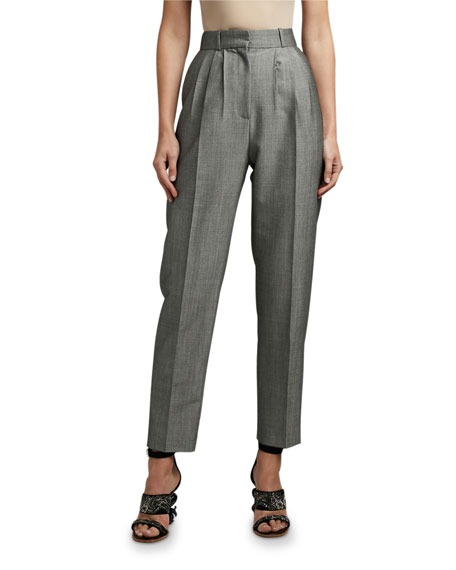 Alexander McQueen Wool High-Rise Peg Trousers