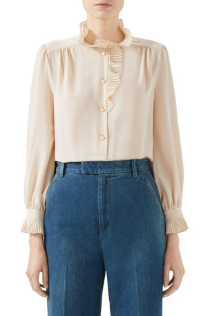 Gucci Crepe Ruffle Button-Front Shirt