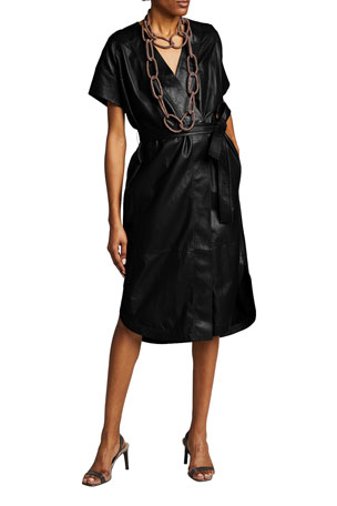 Brunello Cucinelli Leather Belted Wrap Dress