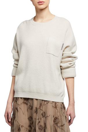 Brunello Cucinelli Cashmere Roll-Sleeve Sweater