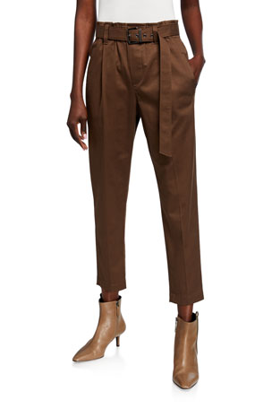Brunello Cucinelli Cotton Belted Pull-On Pants