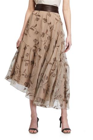 Brunello Cucinelli Floral-Embroidered Silk Asymmetric Skirt
