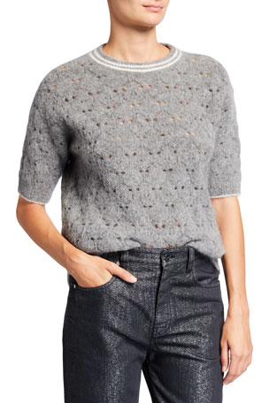 Brunello Cucinelli Crewneck Elbow-Sleeve Open Weave Sweater