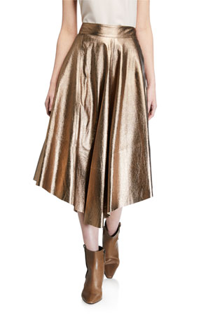 Brunello Cucinelli Metallic Leather Asymmetric Skirt