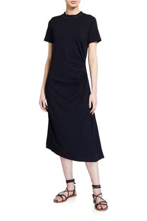 Brunello Cucinelli Wool Jersey Short-Sleeve Dress