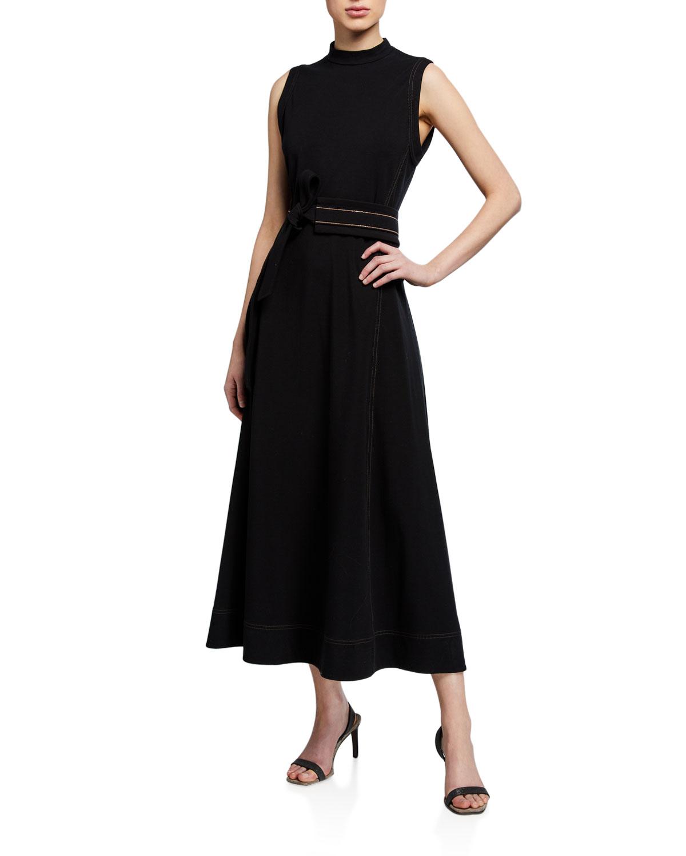 Brunello Cucinelli Monili-Belted Cotton Midi Dress in Black