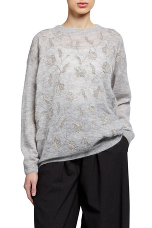 Brunello Cucinelli Floral-Sequined Mohair Sweater