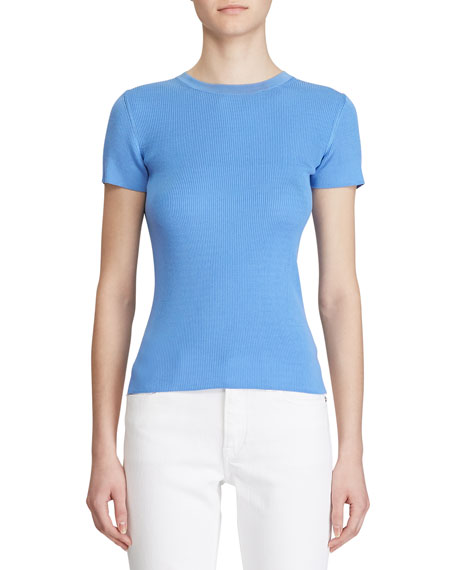 Ralph Lauren Collection Ribbed Silk Short-Sleeve Sweater