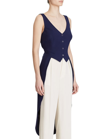 Image 3 of 3: Ralph Lauren Collection Bruno High-Low Vest Blouse