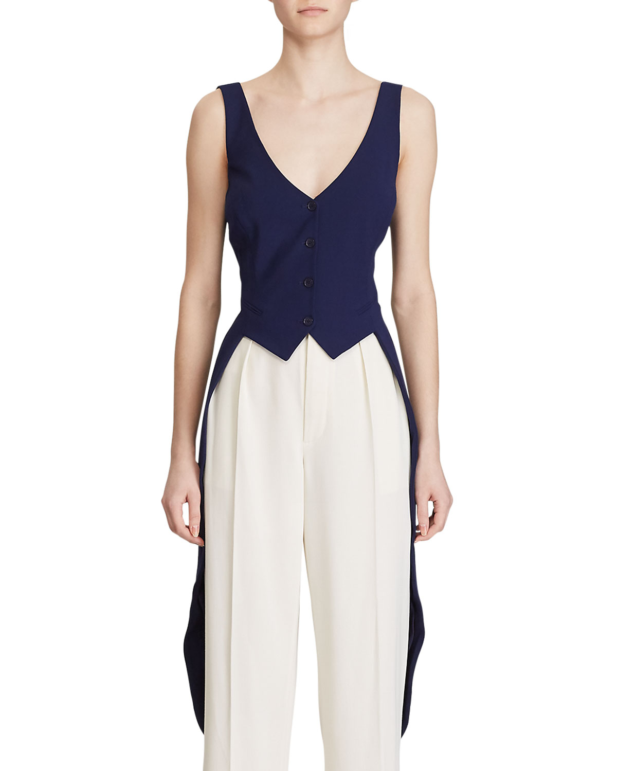 Ralph Lauren Collection Bruno High-Low Vest Blouse