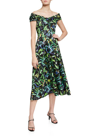 Jason Wu Collection Off-The-Shoulder Printed Cotton Poplin Dress
