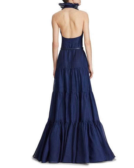 Ralph Lauren Collection Emilia Frilled Silk Evening Gown