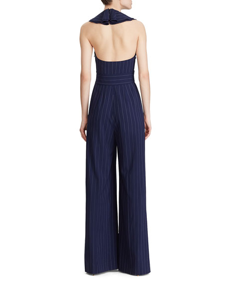 Image 2 of 4: Ralph Lauren Collection Alandra Pinstriped Wide-Leg Jumpsuit
