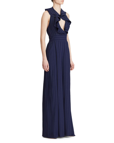 Image 3 of 4: Ralph Lauren Collection Alandra Pinstriped Wide-Leg Jumpsuit
