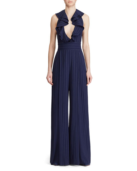 Image 4 of 4: Ralph Lauren Collection Alandra Pinstriped Wide-Leg Jumpsuit