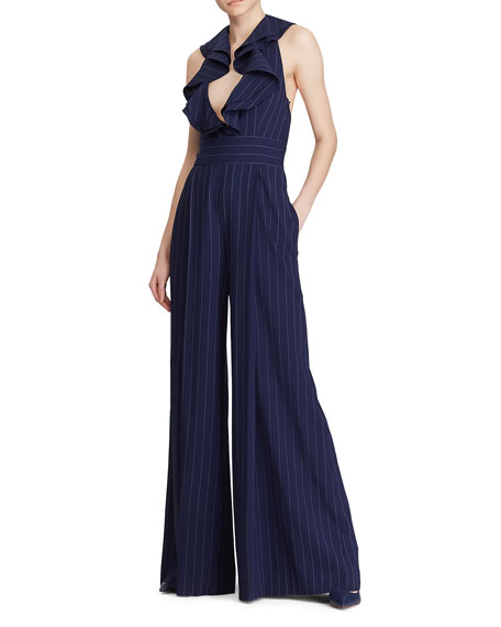 Image 1 of 4: Ralph Lauren Collection Alandra Pinstriped Wide-Leg Jumpsuit