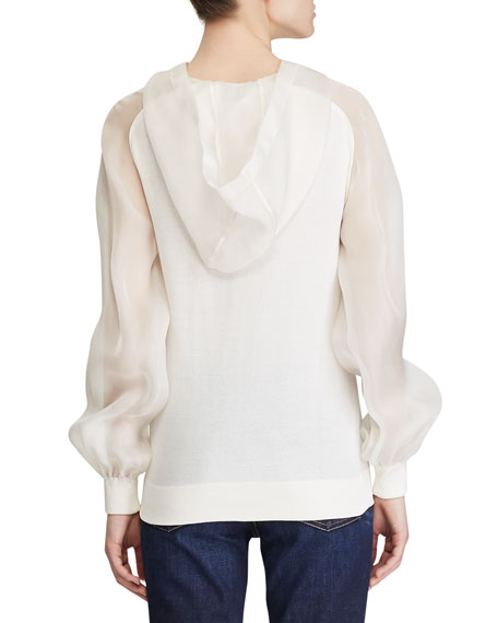 Ralph Lauren Collection Silk Knit Hoodie with Chiffon Trim