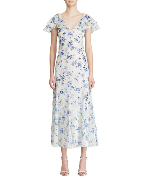 Ralph Lauren Collection Kegan Floral Toile Evening Dress