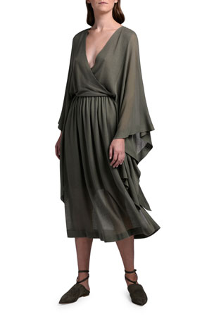 Agnona Batwing-Sleeve Faux Wrap Dress