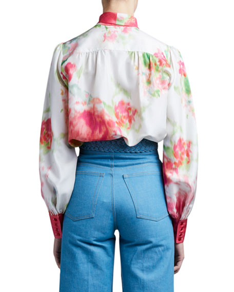 Image 2 of 4: Marc Jacobs (Runway) Watercolor Silk Bow-Neck Blouse