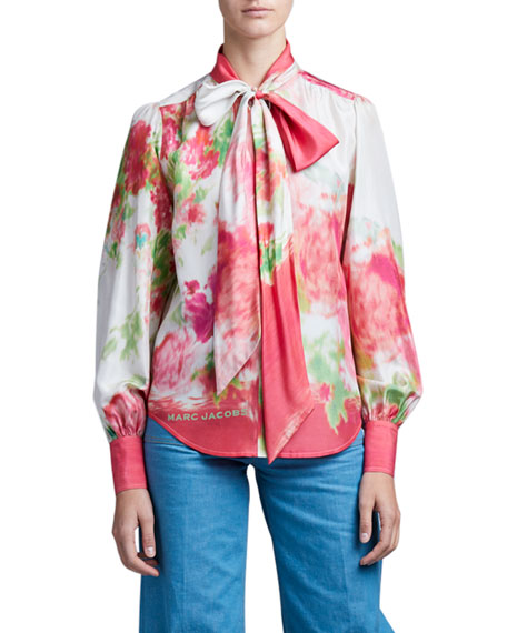 Image 3 of 4: Marc Jacobs (Runway) Watercolor Silk Bow-Neck Blouse