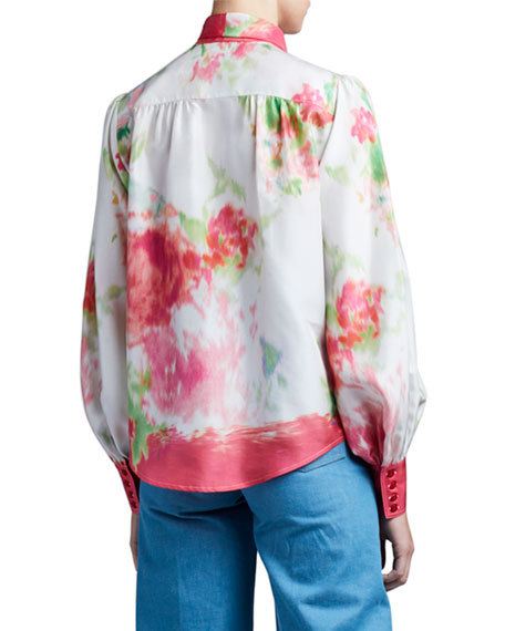 Image 4 of 4: Marc Jacobs (Runway) Watercolor Silk Bow-Neck Blouse