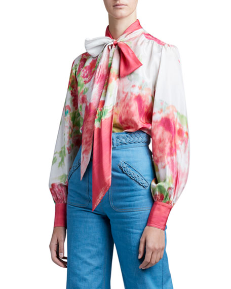 Image 1 of 4: Marc Jacobs (Runway) Watercolor Silk Bow-Neck Blouse