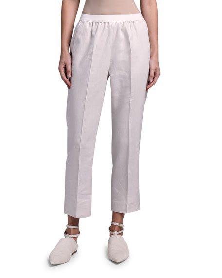 Agnona Linen Sporty Slim-Leg Pants