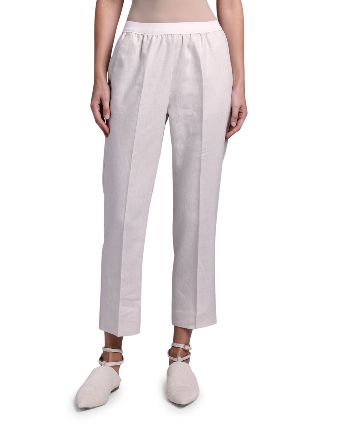Agnona Linen Sporty Slim-Leg Pants