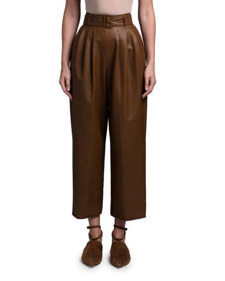 Agnona Leather Full-Leg Pants