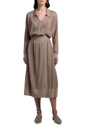 Agnona Cotton-Silk Mesh-Knit Shirtdress