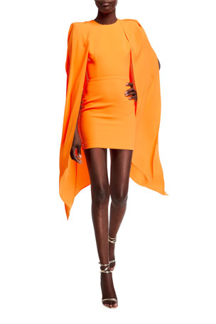 Alex Perry Tucker Cape-Sleeve Dress