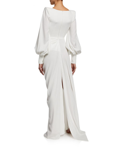 Image 2 of 2: Alex Perry Clark Twisted Full-Sleeve Gown