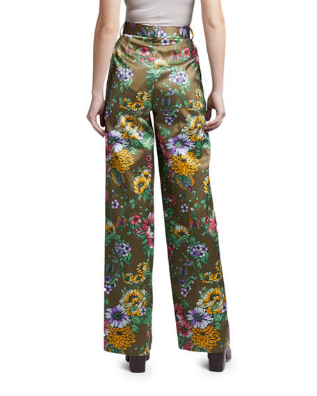 Image 2 of 2: Marc Jacobs (Runway) Floral Satin Pleated Pants