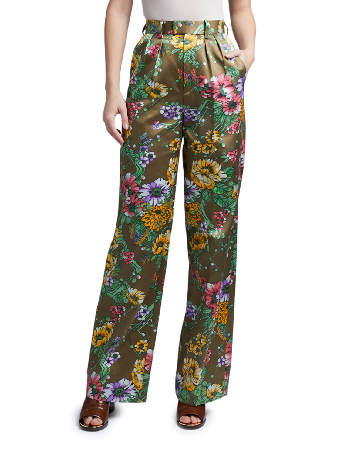 Marc Jacobs (Runway) Floral Satin Pleated Pants