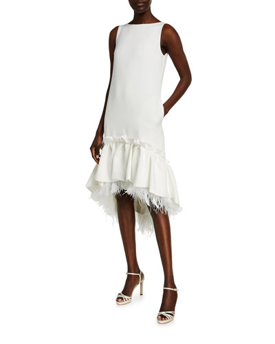 Feather-Trim High-Low Cocktail Dress