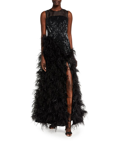 Sequined Feather-Skirt Gown