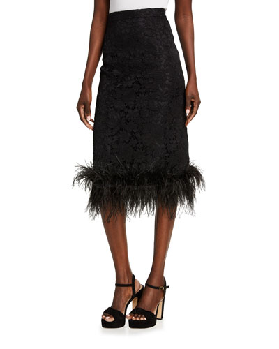Feather-Trim Midi Skirt