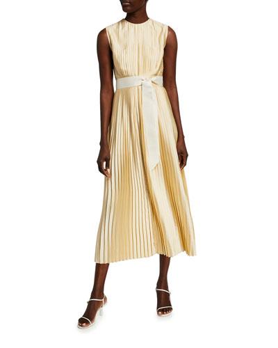 Pleated Tie-Waist A-Line Dress