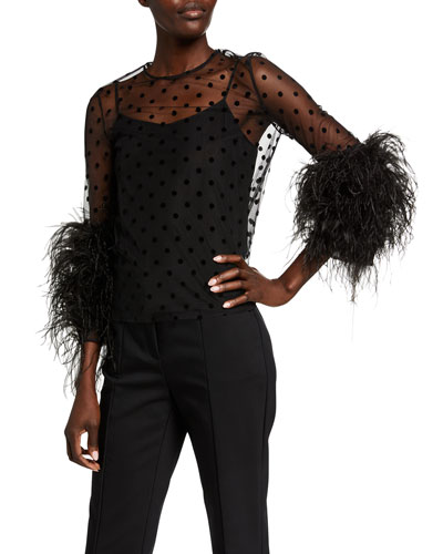 Feathered Tulle Polka-Dot Top